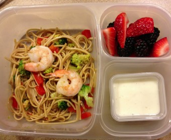 Leftover Spicy Soba Noodles with broccoli, leeks, red bell pepper and shrimp, vanilla bean yogurt and strawberries and blackberries