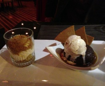 """Left: Spiced apple """"pie"""" with marscapone cheese. Right: Toffee pudding, toffee chips, Jeni's honey vanilla ice cream."""